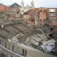 The Church of Saint Francis of Assisi backs the Cavea of the Greek-Roman Theatre