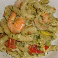 Pasta with Prawns & Pistachio Pesto